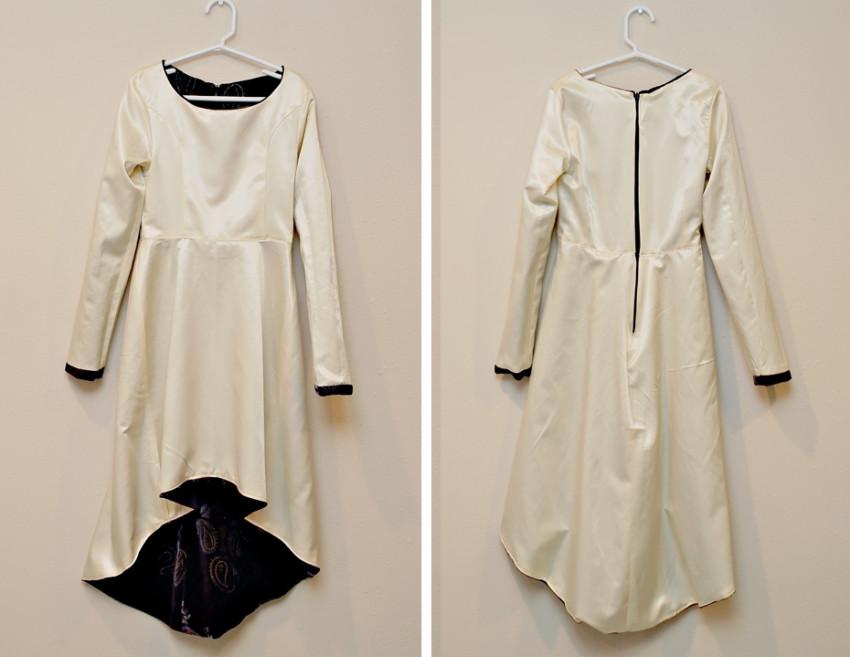 black velvet and satin dress inside