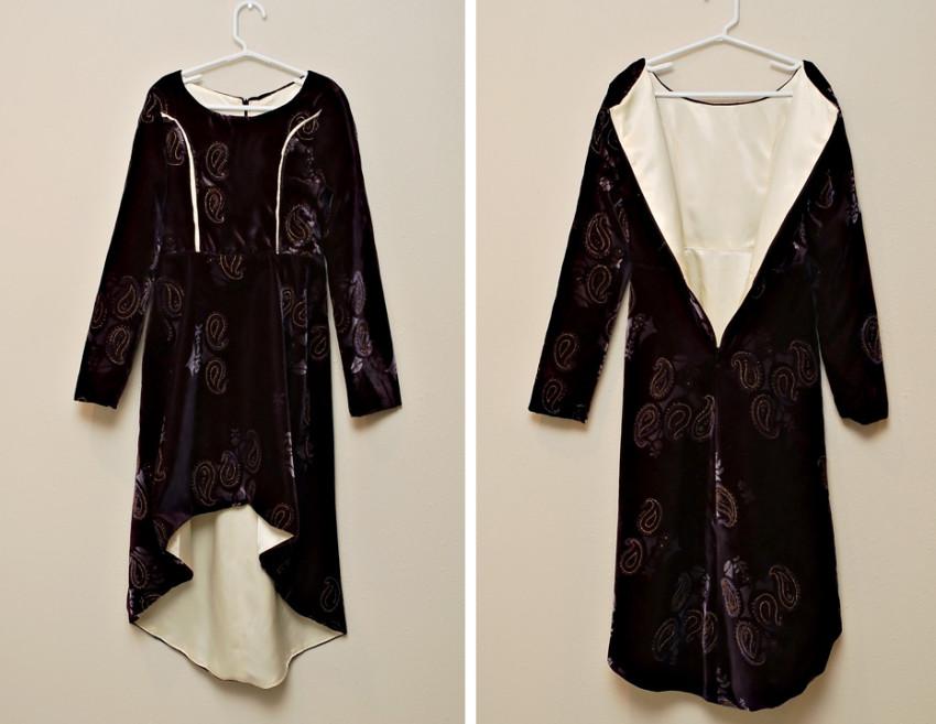 black velvet and satin dress outside